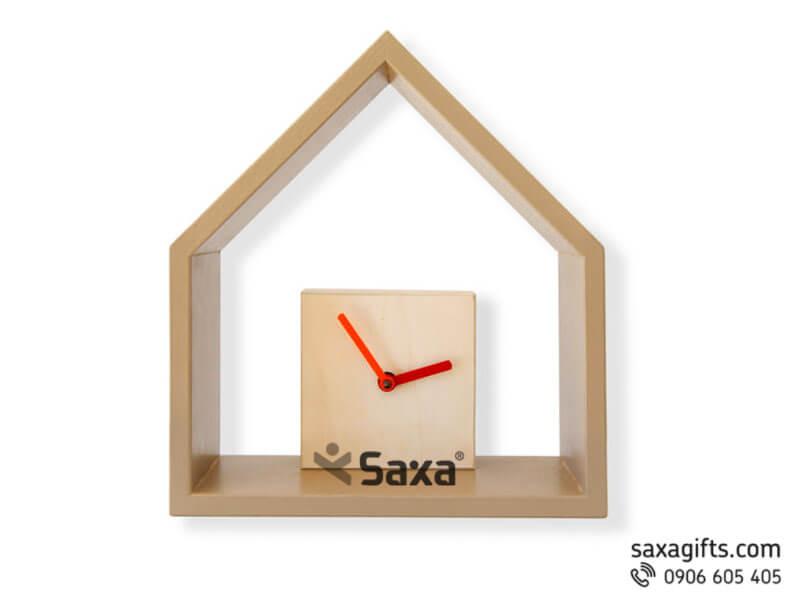 Đồng hồ gỗ quà tặng – Kiểu dáng ngôi nhà tối giản