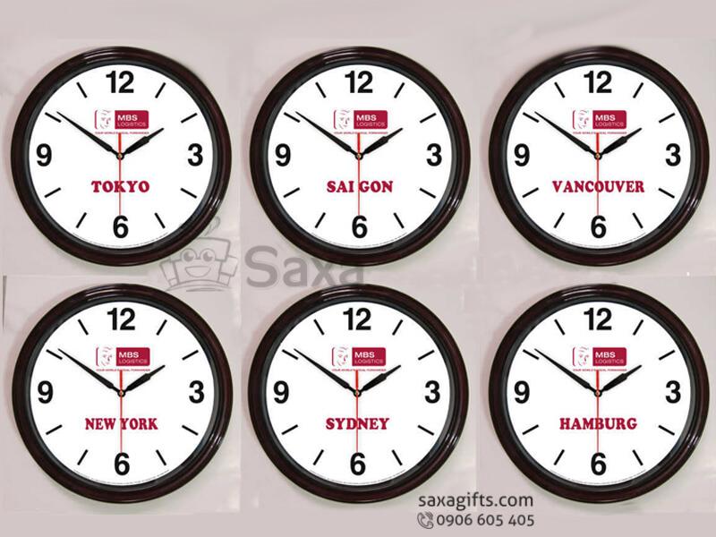 Đồng hồ treo tường in logo hình tròn vạch số xen kẽ Đại Á Bank
