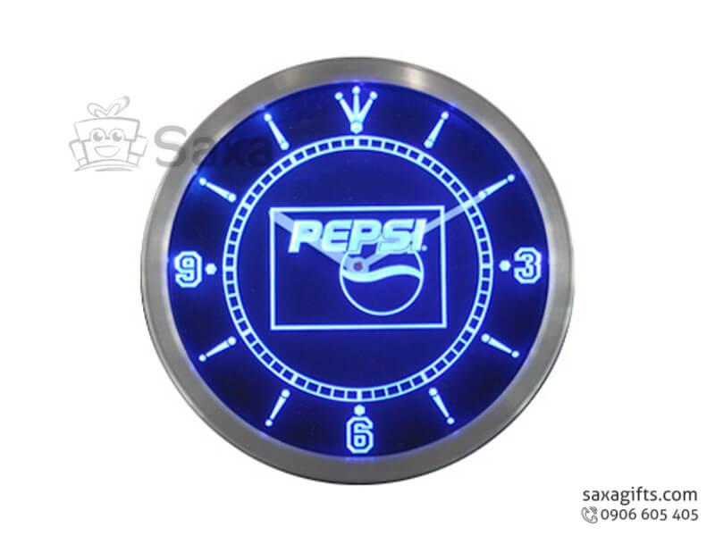 Đồng hồ treo tường in logo vạch số + logo phát quang của Pepsi