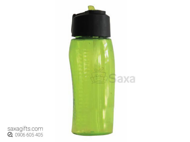 Bình nước thể thao in logo thân cong màu xanh lá