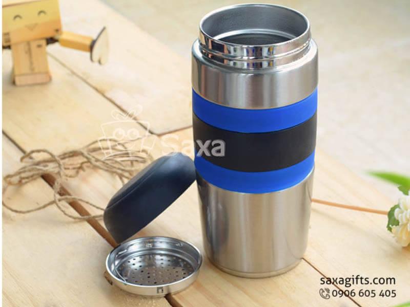Bình giữ nhiệt in logo có khay lọc trà thân phối vòng su cách nhiệt
