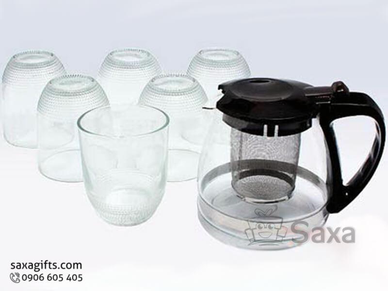 Bộ bình ly thủy tinh in logo có khay lọc lá trà túi trà