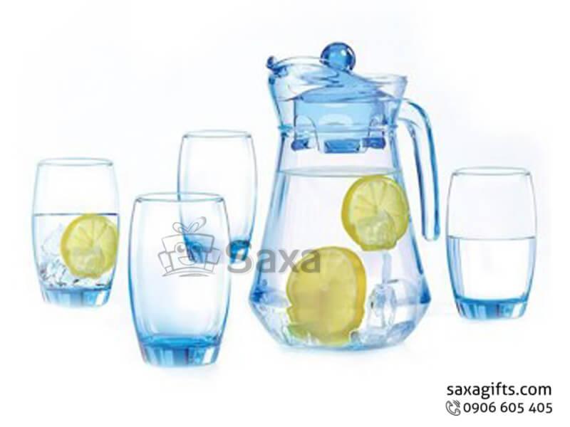 Bộ bình thủy tinh in logo dáng bầu ở đáy màu xanh