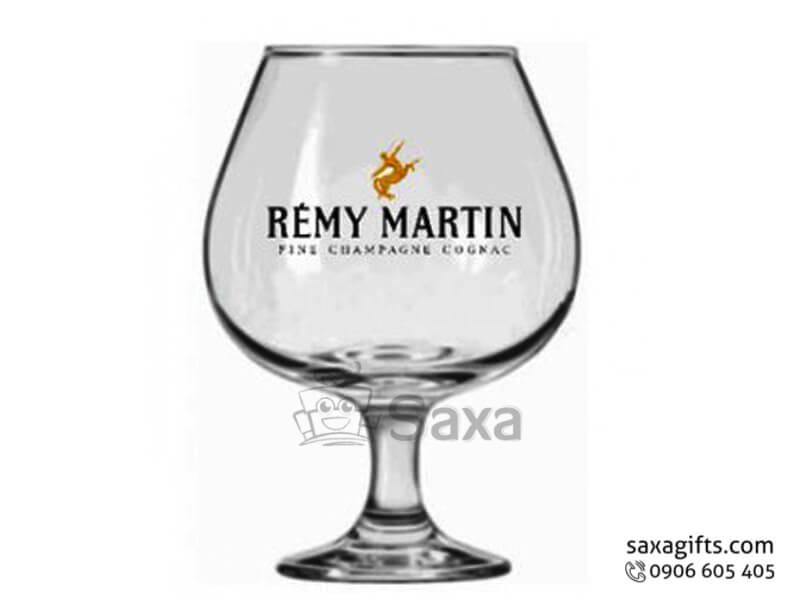 Ly thủy tinh in logo dùng uống rượu vang thân bầu có đế ly