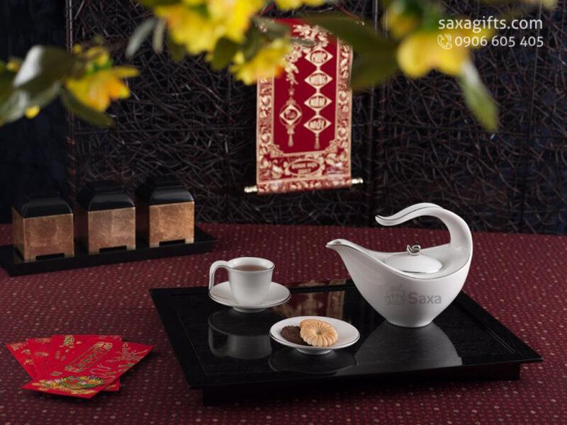 Bộ bình trà in logo gốm Minh Long cao cấp kiểu dáng đặc biệt