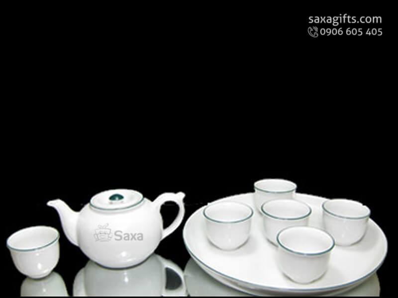 Bộ ấm trà in logo thân bầu viền nhũ xanh có khay để đựng