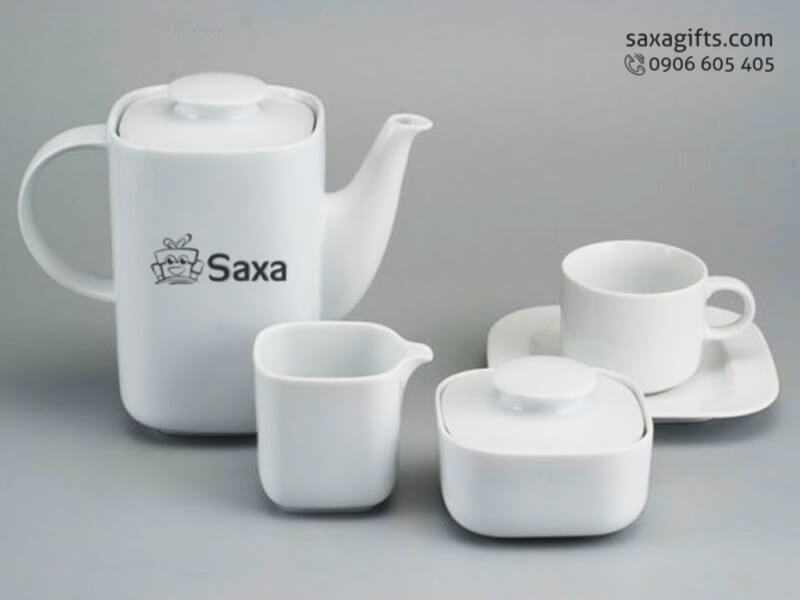 Bộ ấm trà in logo gốm sứ kiểu vuông độc đáo