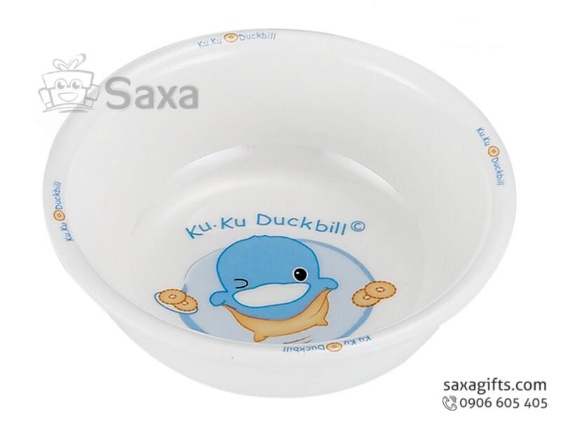 Chén sứ trẻ em in logo Ku.Ku Duckbill ngộ nghĩnh