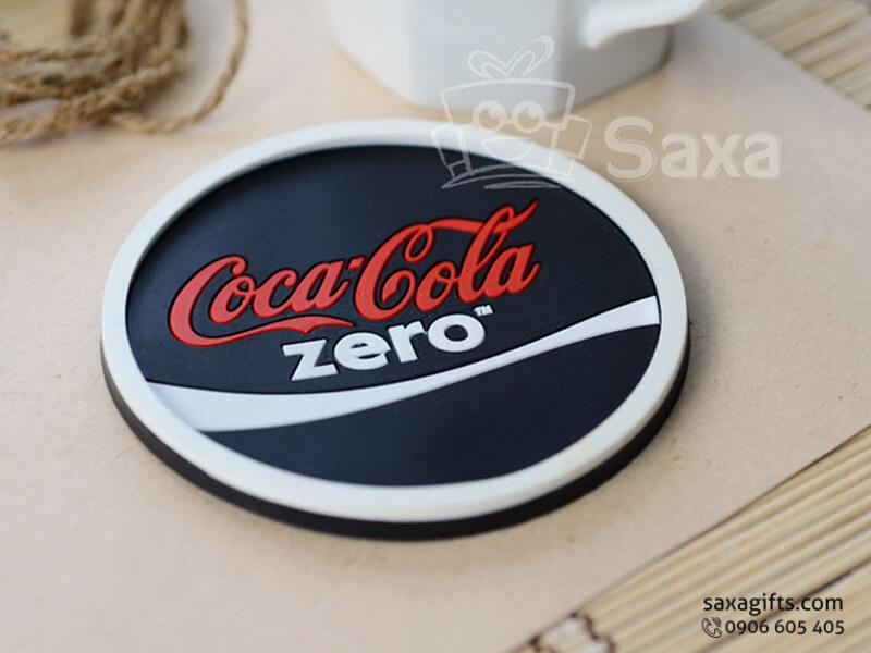 Lót ly cao su đổ khuôn in logo thương hiệu Coca-Cola Zero