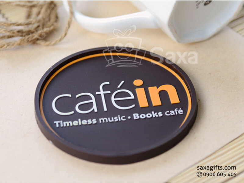 Lót ly cao su đổ khuôn in logo Café in (Rubber Coasters)