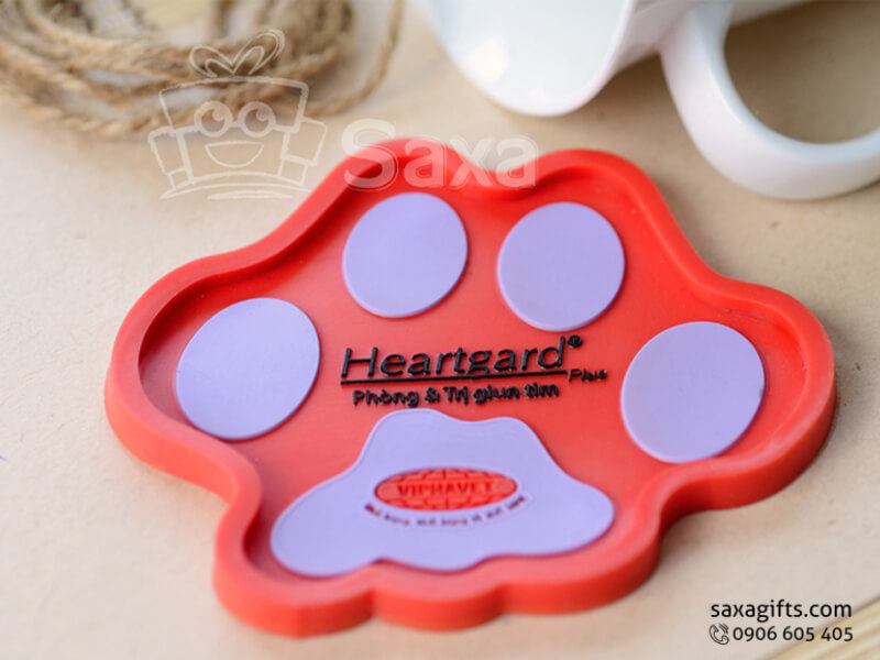 Lót ly cao su đổ khuôn mẫu chân thú in logo Heartgard
