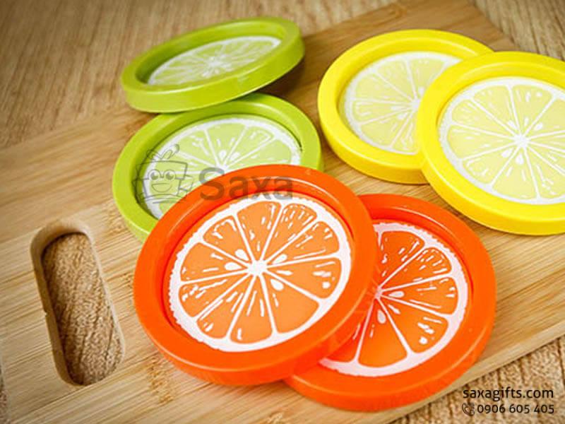 Lót ly cao su đổ khuôn theo mẫu hình quả cam in logo doanh nghiệp