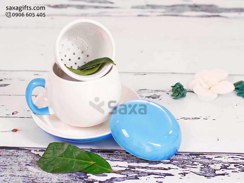 Bộ Ly trà gốm Bát Tràng có nắp + khay lọc + dĩa, dung tích 180ml