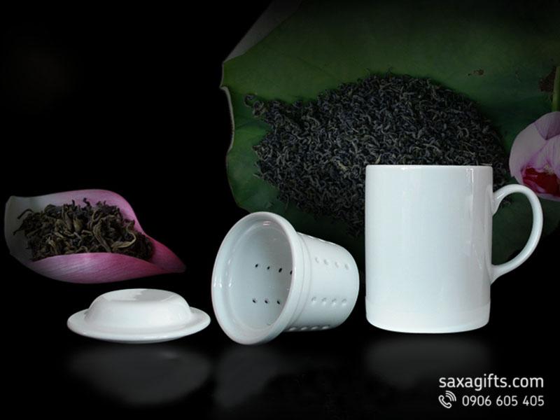Bộ ly lọc trà Minh Long 0.3l màu trắng, có nắp đậy
