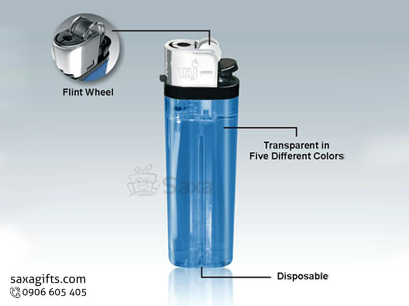 Bật lửa in logo quảng cáo phối nhựa màu xanh trong
