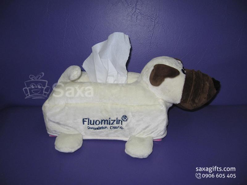 Chó nhồi bông in logo dạng hộp khăn giấy ngộ nghĩnh