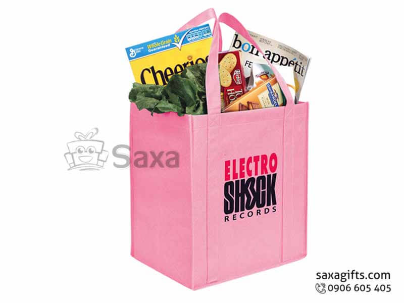 Túi môi trường in logo dạng túi hộp hông rộng màu hồng
