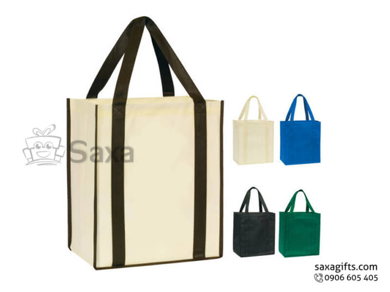 Túi môi trường in logo dạng túi hộp cỡ trung tiện dụng
