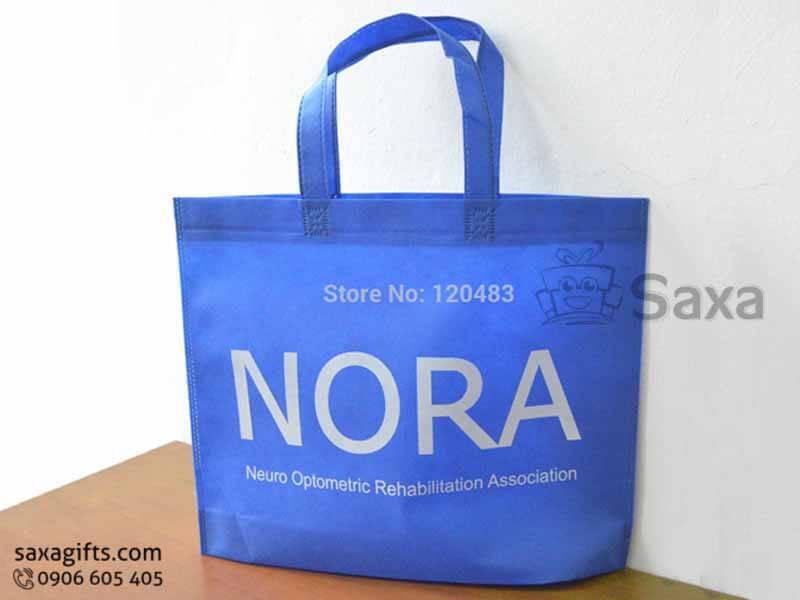 Túi môi trường in logo dạng túi dẹp may hông tinh tế