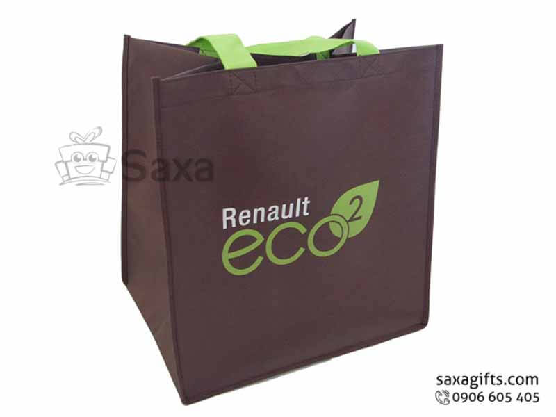 Túi môi trường in logo dạng túi hộp quai phối màu theo logo