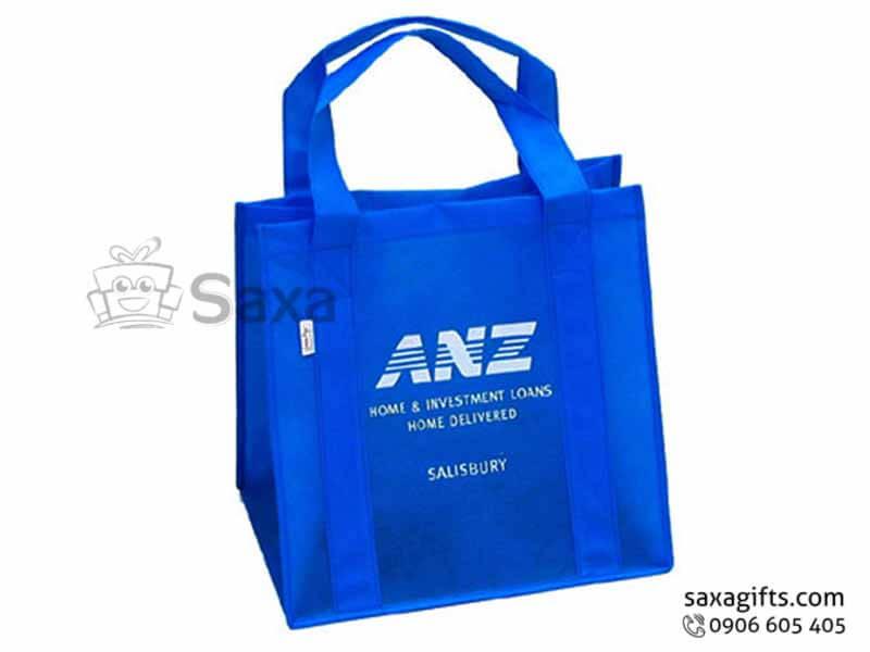 Túi môi trường in logo dạng túi hộp quai may dọc thân
