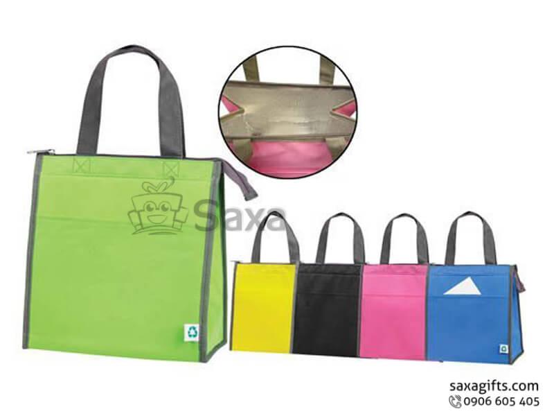 Túi môi trường in logo dạng túi hộp 2 ngăn có dây khóa kéo