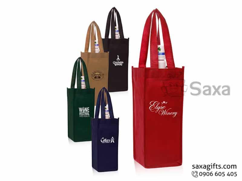 Túi môi trường in logo dạng túi hộp đựng rượu