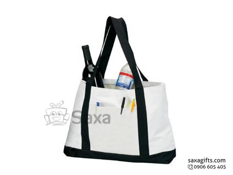 Túi vải canvas in logo dạng xách tay phối màu quai cá tính