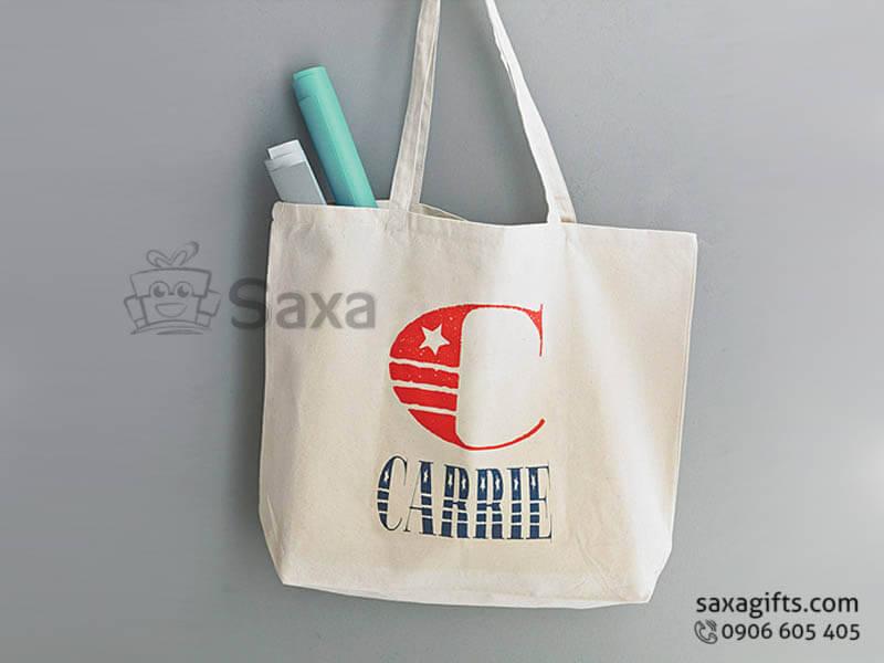Túi vải canvas in logo xách tay ton sur ton