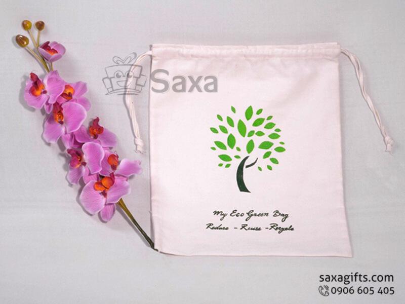 Túi vải canvas in logo dây rút in logo theo yêu cầu
