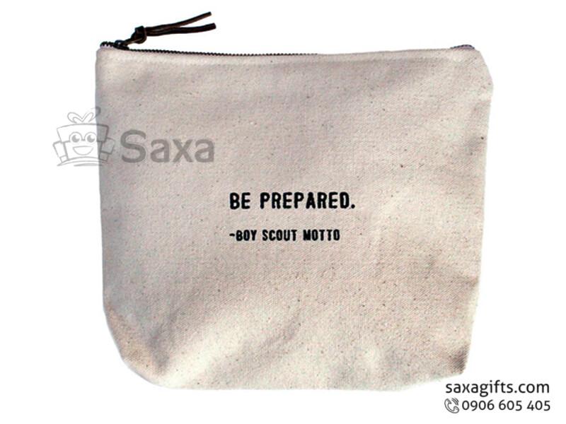 Túi vải canvas in logo cẩm tay có khóa kéo