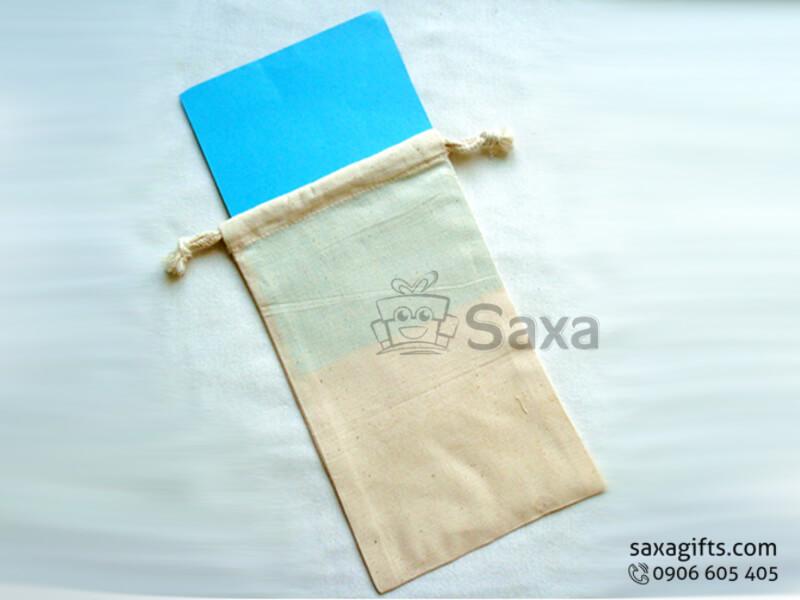Túi vải canvas in logo dây rút size nhỏ tiện dụng