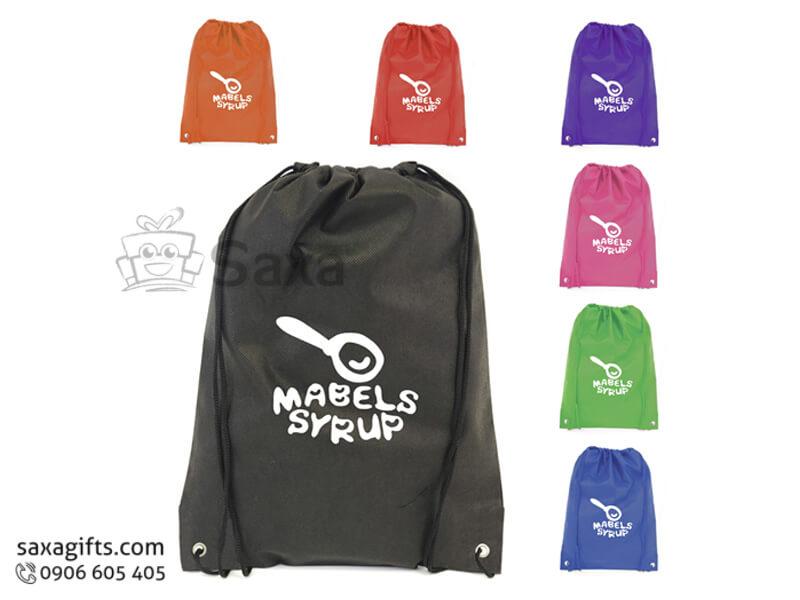 Túi vải dù in logo dây rút có đục lỗ năng động