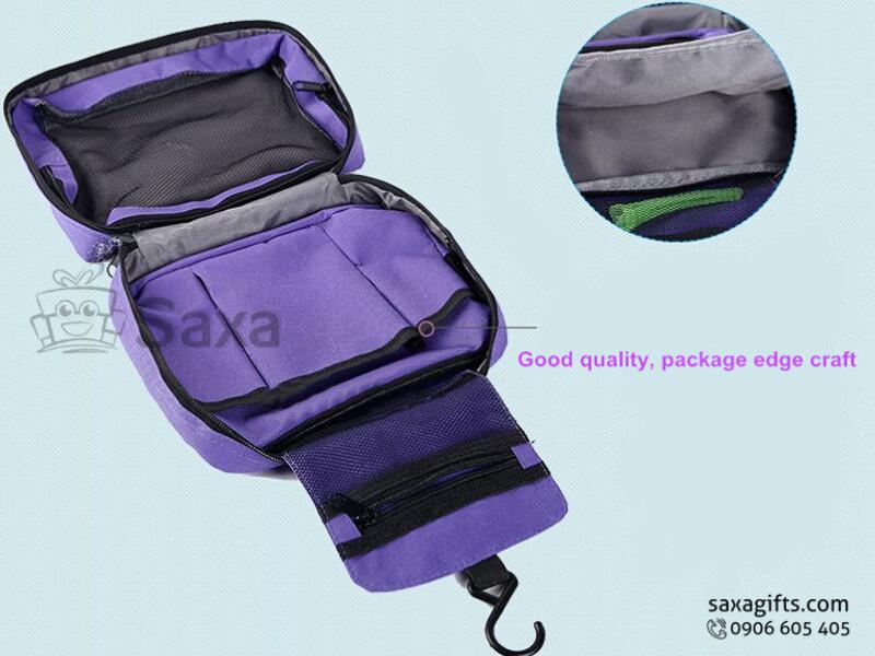 Túi vải dù in logo cá nhân nhiều ngăn màu tím