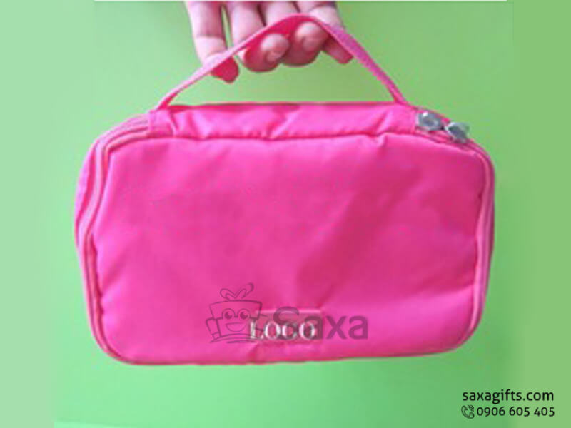 Túi vải dù in logo đựng mỹ phẩm màu hồng có quai xách