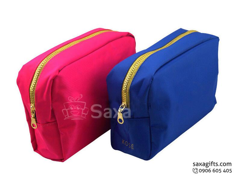 Túi vải dù in logo đựng mỹ phẩm dây kéo phối màu