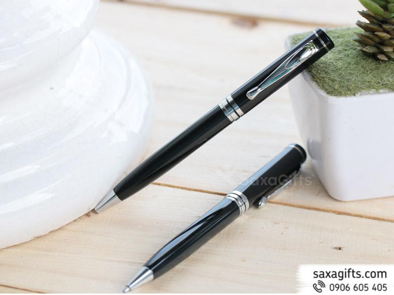 Bút kim loại xoay, form to mạ bạc 3 vị trí