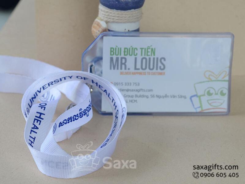 Dây đeo thẻ in logo màu xanh nổi bật dây dù màu trắng