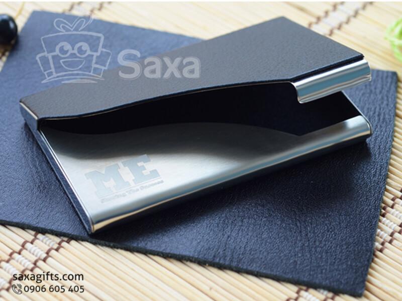 Hộp namecard da in logo phần nắp cắt đường sóng ấn tượng