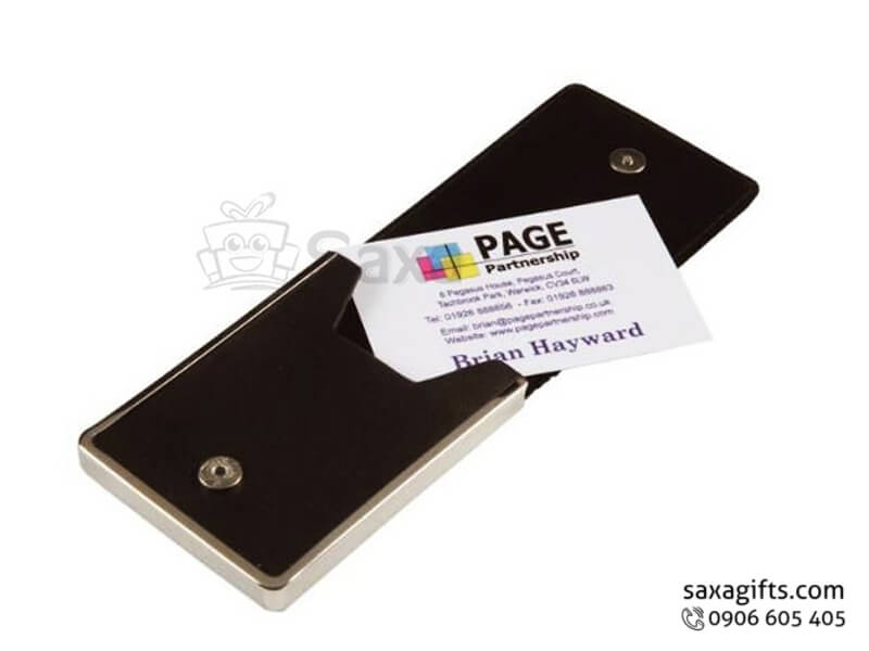 Hộp namecard da in logo phối kim loại nắp nút bấm