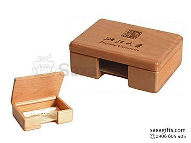 Hộp đựng namecard gỗ in logo để bàn cut out cách điệu