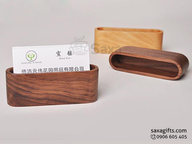Hộp namecard gỗ in logo nắp rời bo tròn sang trọng