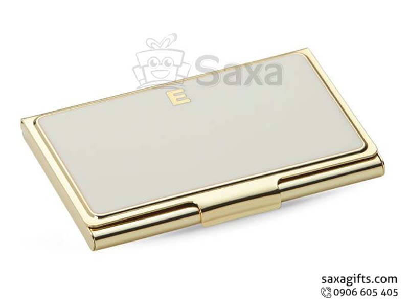 Hộp namecard kim loại in logo xi mạ vàng sang trọng