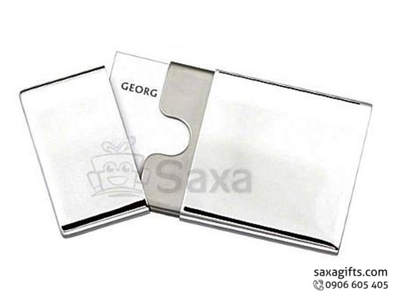 Hộp namecard kim loại in logo nắp rời bo góc sang trọng