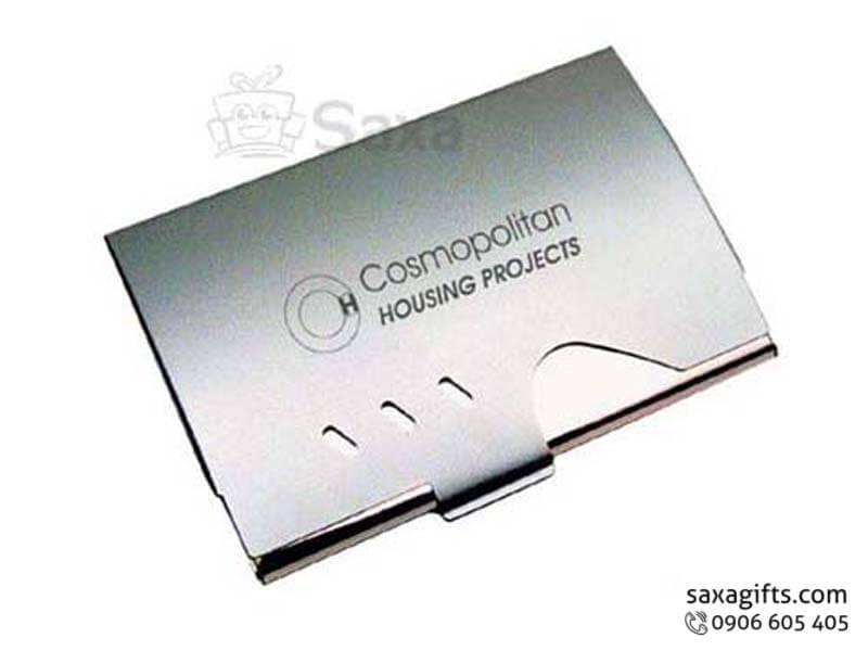 Hộp namecard kim loại in logo cut out phần nắp ấn tượng