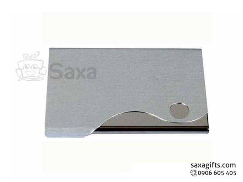 Hộp namecard kim loại in logo nắp cut out lượn sóng