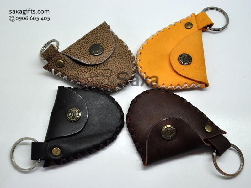 Móc khóa da in logo hình cái túi handmade độc đáo