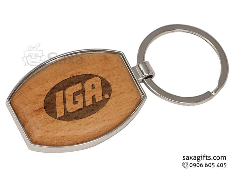 Móc khóa gỗ in logo gỗ màu vàng nâu phối kim loại sang trọng