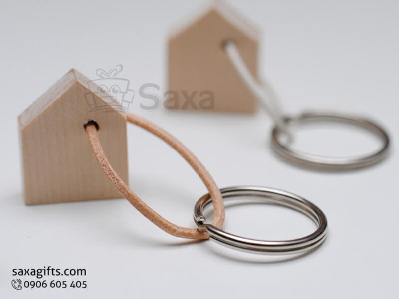 Móc khóa gỗ in logo mô hình ngôi nhà