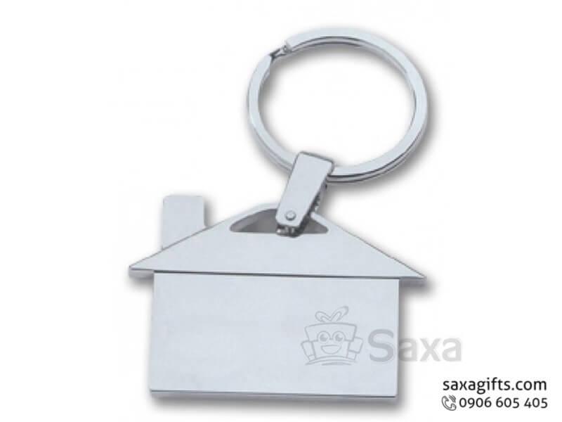 Móc khóa kim loại in logo kiểu dáng ngôi nhà màu trắng